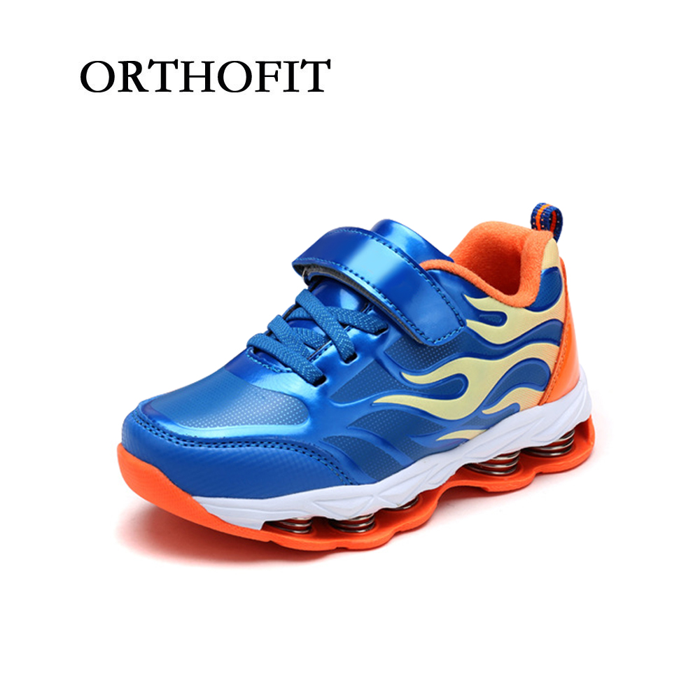 Popular boys bright blue spring shock absorption sneakers synthetic leather pu sport shoes for kids kelme 2016 new children sport running shoes football boots synthetic leather broken nail kids skid wearable shoes breathable 49