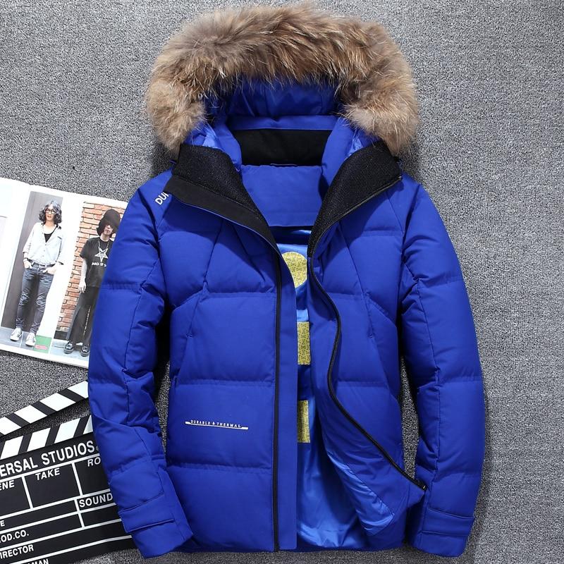 Winter Duck Down Jackets Men Genuine Fur Hooded Warm High Quality Down Coats Men Brand Tace & Shark Casual Windproof Down Parkas