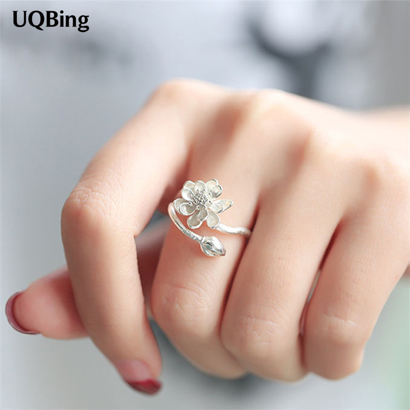 2016 Free Shipping 925 Sterling Silver Lotus Flower Rings For Women Jewelry Beautiful Op ...