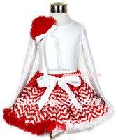 عيد الميلاد أحمر أبيض موجة pettiskirt مع مطابقة أبيض طويل الأكمام الأعلى مع حفنة من الأحمر ريدات و الأبيض القوس MAMW256