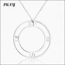 Funy Double round Silver Unisex Pendant Necklaces for women men High quality jewelery Stainless Steel Creative Classic
