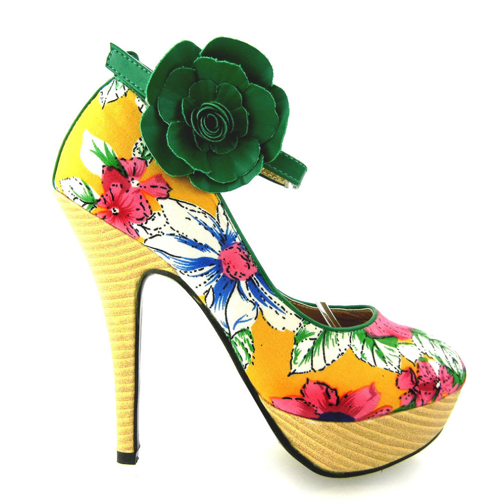 LF30425 New Ladies Floral Ankle Strap Buckle Wooden High Heel Platform Pumps Party Shoes mld lf 1127 ankle supports