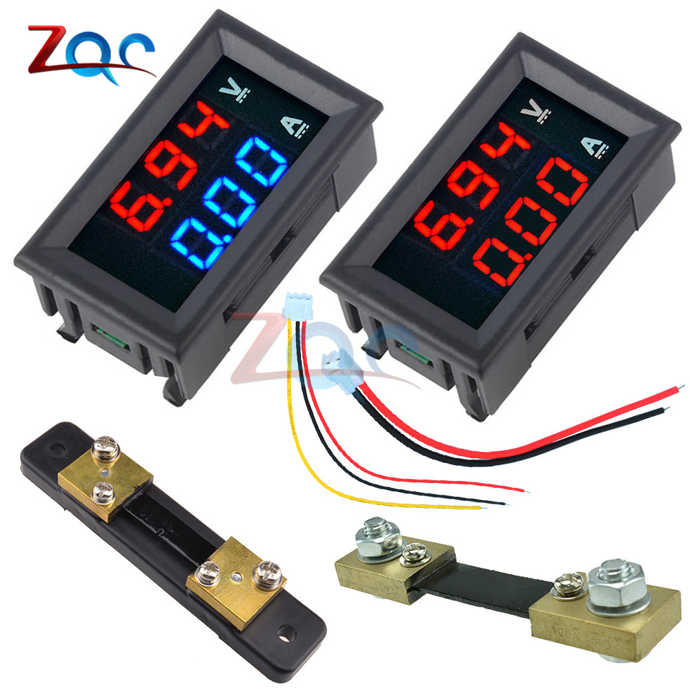 Mini Digital Voltmeter Ammeter DC 100V 10A 50A 100A Panel Amp Volt Voltage Current Meter Tester 0.56
