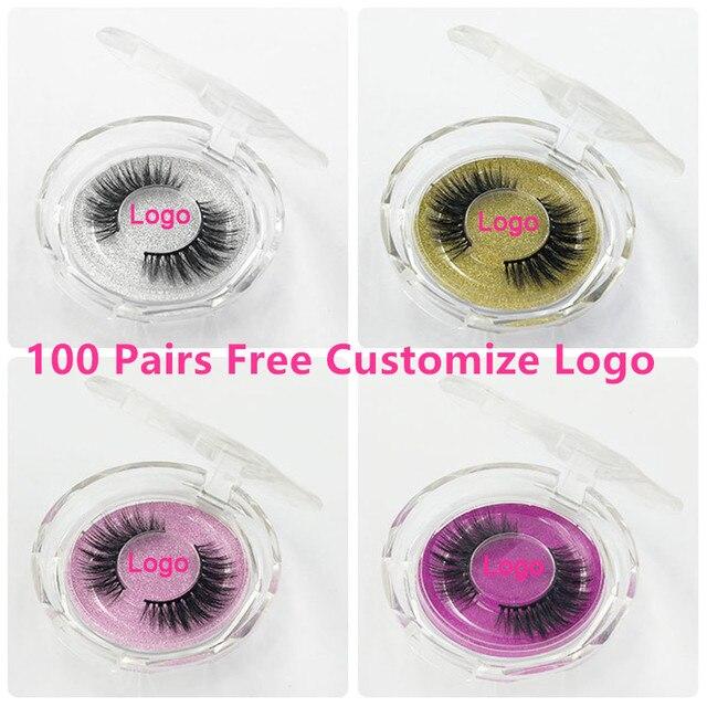 100 Pairs Free DHL Free Logo Wholesale 18Styles Mink Eyelashes 3D Mink Lashes Invisible Band False Eyelashes Bandless Eye Lashes