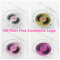 100 Pairs Free DHL Free Logo Wholesale 18Styles Mink Eyelashes 3D Mink Lashes Invisible Band False Eyelashes Bandless Eye Lashes