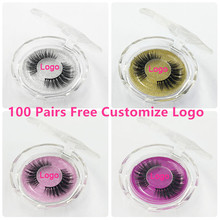 100 paires gratuit DHL Logo gratuit en gros 18Styles de cils de vison 3D cils de vison bande Invisible faux cils sans bandes cils