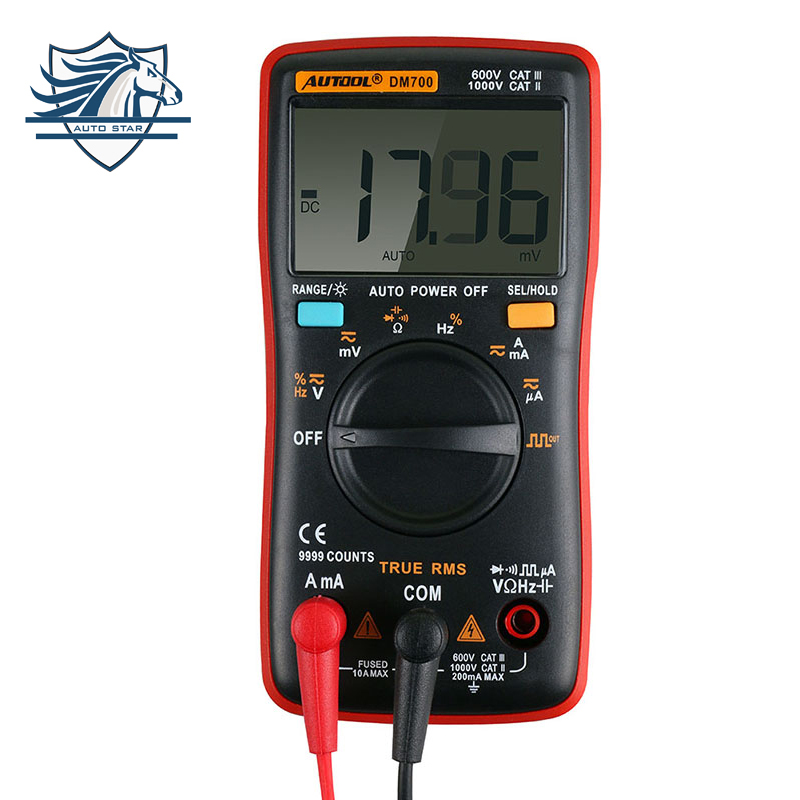 DM700 Handheld Digital Multimeter 9999 counts Square Wave Backlight LCD Display AC/DC Ammeter Voltmeter Ohm Electrical Tester