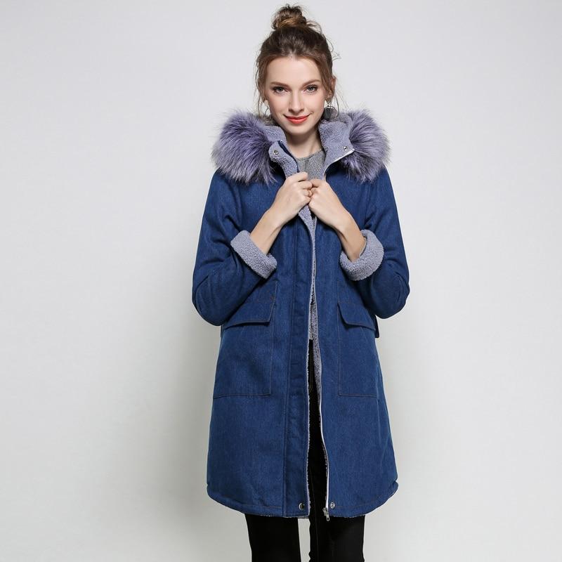 Denim fleece <font><b>Jacket</b></font> Women2017 l-5xlwinter Coat Long Parka Warm Fleece Velvet Pockets Hoody Outwear Denim Coat Jeans Parka Female