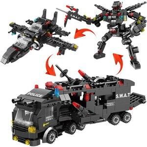 Image 5 - Городской полицейский участок автомобиль полицейский Робот строительные блоки кирпичи развивающие игрушки для детей Совместимые спецназ военные