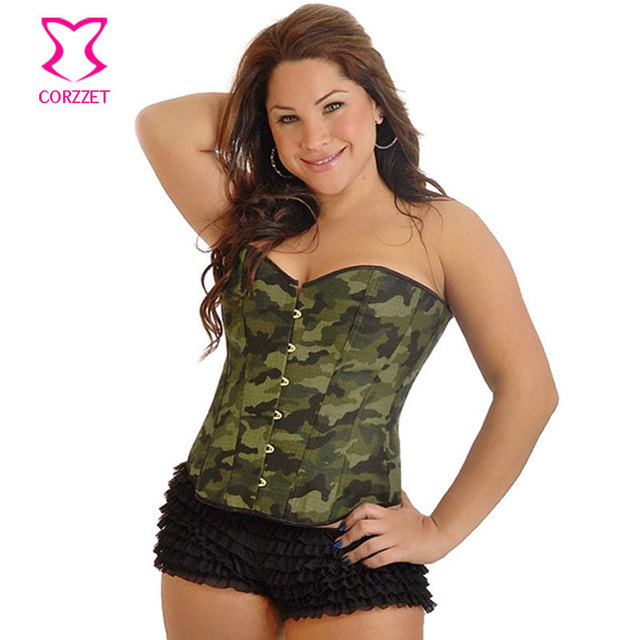 0e4f402df63 Corzzet Gothic Corsage Army Green Color Camouflage Denim Corpete Corselet  Plus Size Sexy Women Overbust Lace