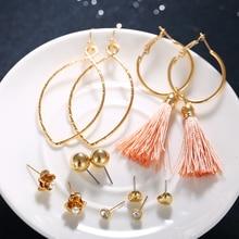 17KM 4 Design Long Tassel Stud Earrings Set For Women Girl 2018 New Bohemia Flower Heart Earring Fabric Female Fashion Jewelry