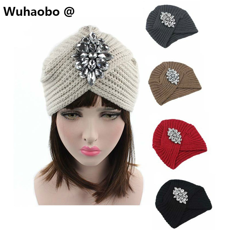 Wuhaobo The new arrival of the cashmere knitting wool Ladies Hat Winter warm Fashion cap Silver Flower diamond Women Caps cicely mary barker flower fairies of the winter