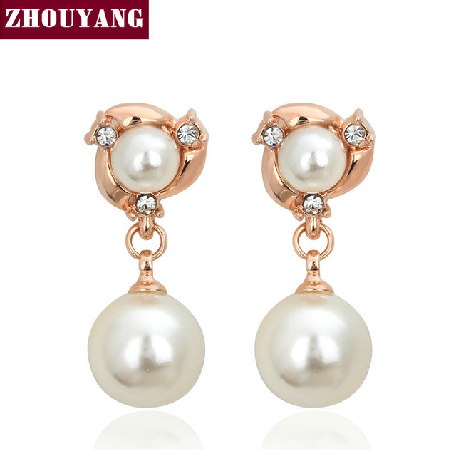 ZHOUYANG Top Quality Two Imitation Pearl Rose Gold Color Stud Earrings Genuine Austrian Crystal Wholesale E081 E082