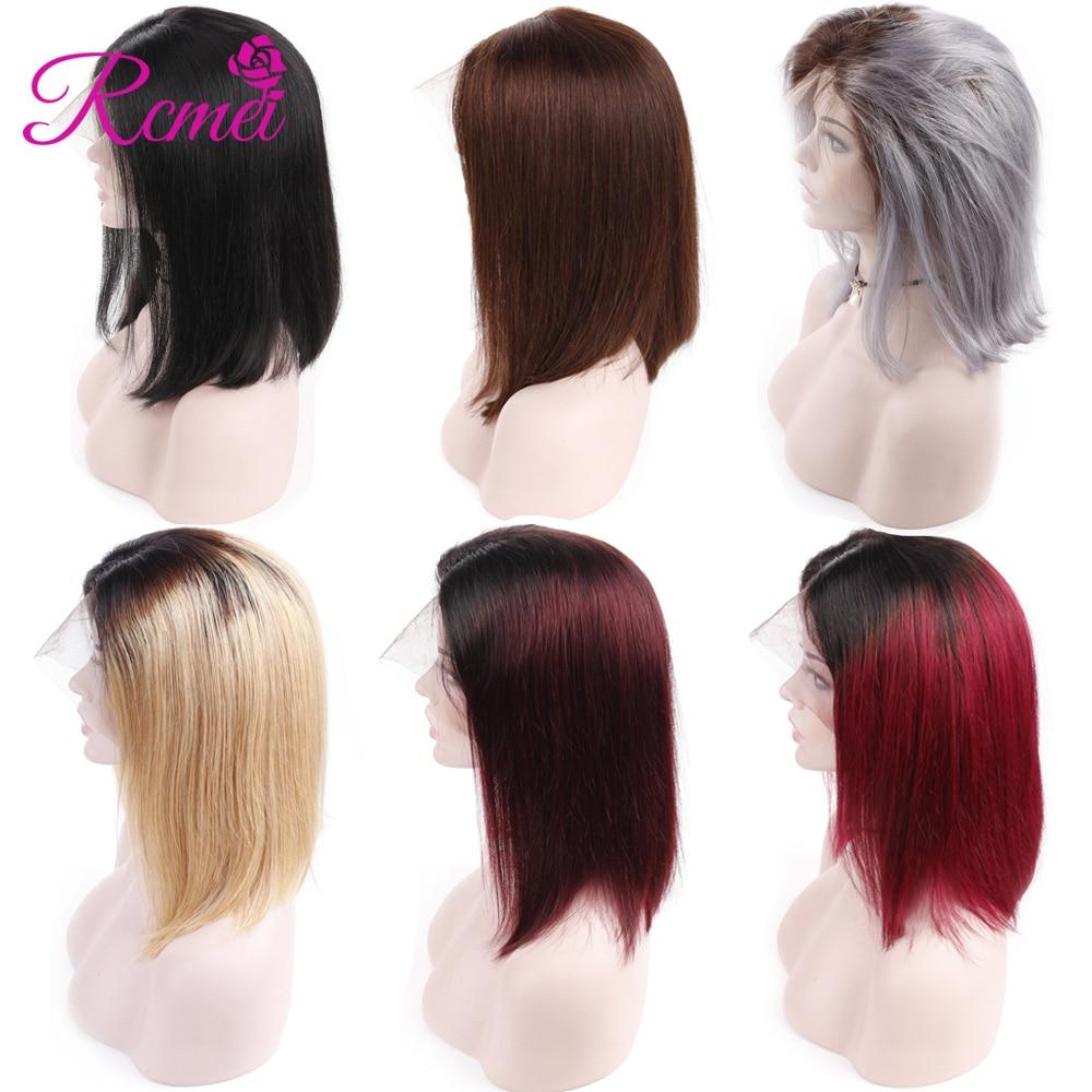 Rcmei Ombre Avant de Lacet Perruques de Cheveux Humains Péruvienne Cheveux Raides Court Bob Perruques Pour Les Femmes Vin Rouge Miel Blonde Gris perruques colorées