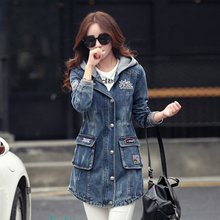 New Women's Hooded Denim Trench Coats Plus Size Jeans Coats Ladies Long Trench Overcoat A180
