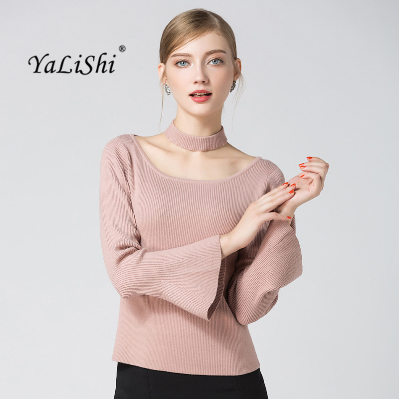 YaLiShi 2017 Autumn Winter Warm Sweater Women Pink Black Blouse O-Neck Flare Sleeve Knitted Christmas Pullover Jumper Sweater