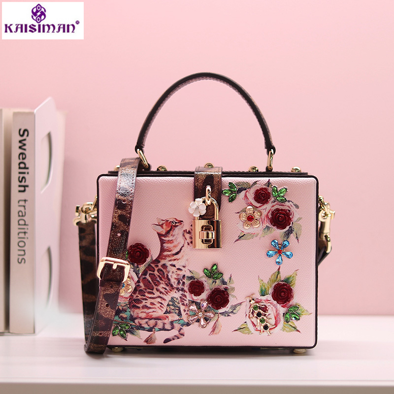Goddess! Luxury Italy Brand Sicily Fashion Cat Flowers Printed Women Tote Bag Genuine Cow Leather Handbag Lady Box Shoulder Bags aosbos fashion portable insulated canvas lunch bag thermal food picnic lunch bags for women kids men cooler lunch box bag tote