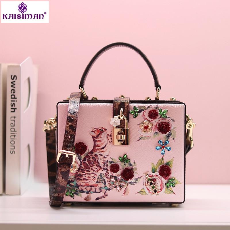 Богиня! Роскошная итальянская брендовая Sicily модная женская сумка тоут с принтом кота и цветов из натуральной коровьей кожи, женская сумка, сумки на плечо