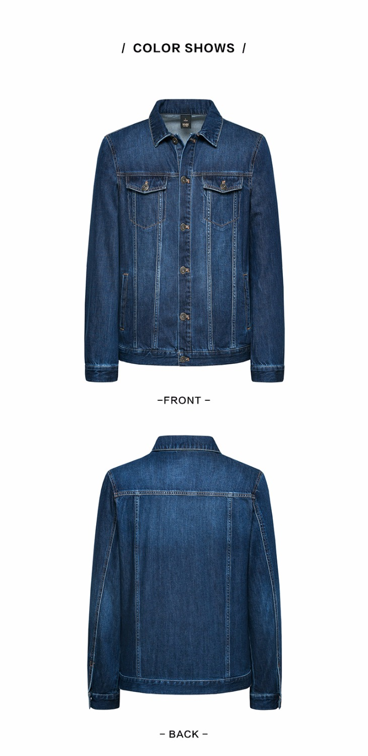 SEMIR denim Jackets men coat dark Blue Casual Teens Denim Jacket cotton Turn-down Collar Long Sleeve Denim Bomber jackets 11