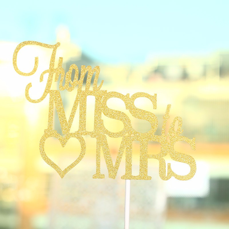 """Romantic Gold Glitter """"From Miss to Mrs"""" Cake Toppers for Wedding Party Delicate Cake Decorative Crafts Accessories 2"""