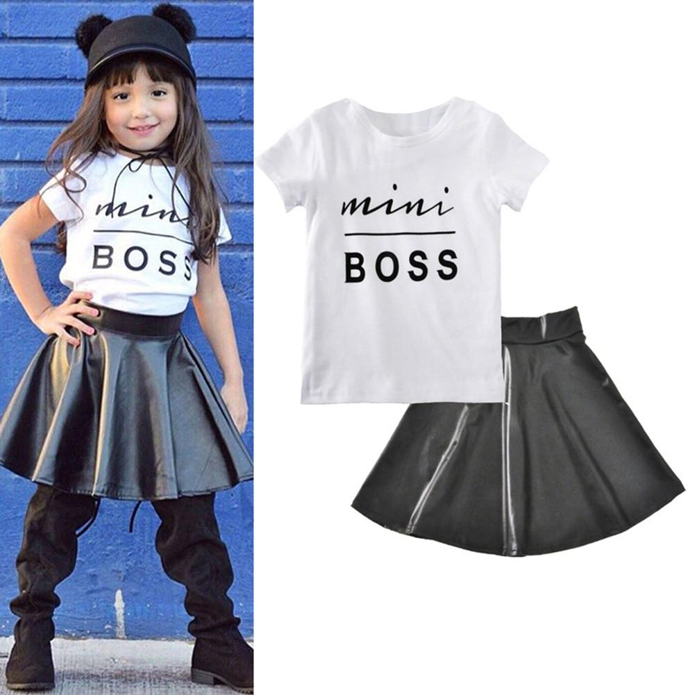 Детская футболка для девочек Топ короткий рукав круглый вырез горловины юбка из искусственной кожи комплект лето Модная одежда FJ88