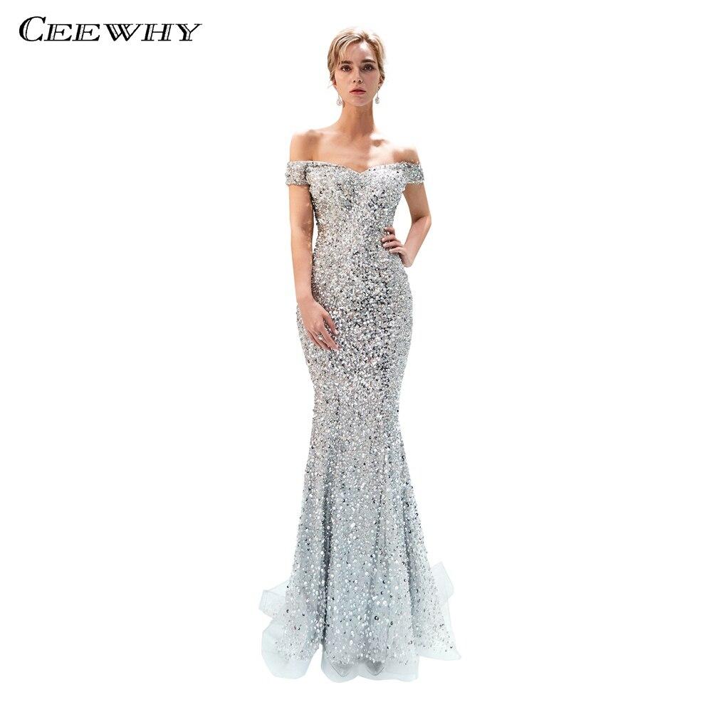 849364cc8e5 CEEWHY лодочка шеи длинное вечернее платье Sequinated Русалка Вечерние  платья расшитые бисером Lebanon вечернее платье длинное