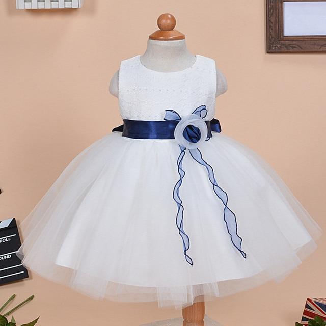 13b63bcb86e8 2017 1 Year Old Baby Girl Dress White Sleeveless o-neck Princess Wedding  Formal Vestido