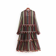 women vintage o neck fur ball splicing colorful striped long dress female chic vestidos casual slim brand party dresses DS1244