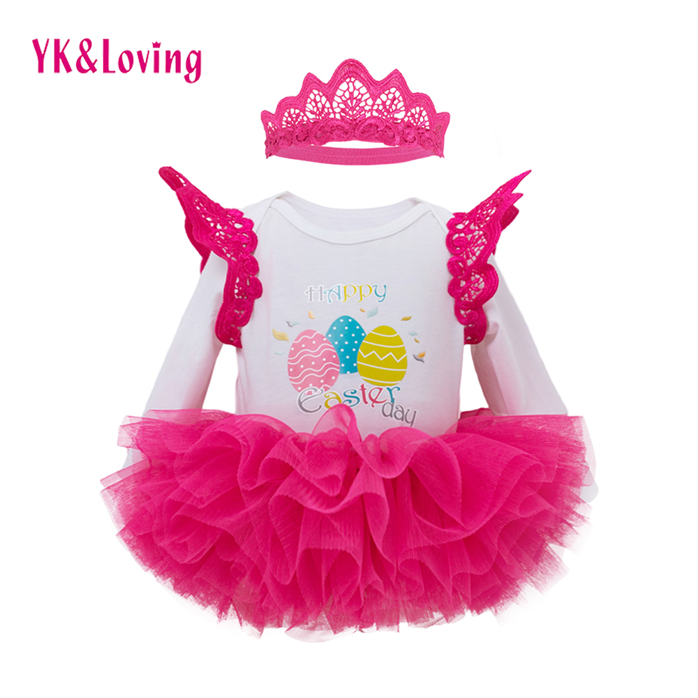 Newborn Baby Girls Easter Clothes Romper+Tutu Dress Pink Long Sleeve Jumpsuit Infant Todder Princess Dresses Party Clothing Sets