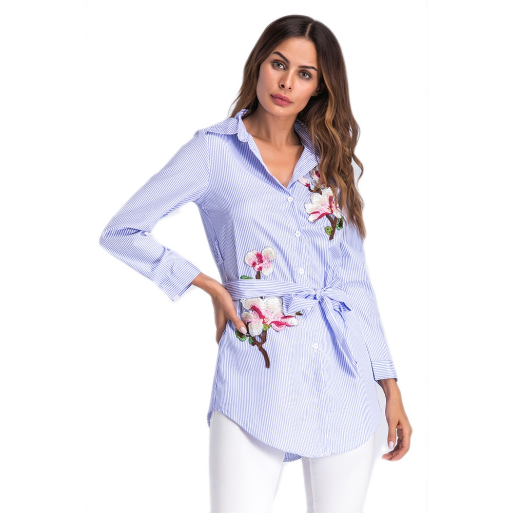 EFINNY Embroidery Flower Stiriped Blouse Fashion Women Clothing Blue Long Sleeve Self Belted Blouse Female