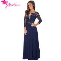 Dear Lover Thanh Lịch Dài Dress Womens Mùa Thu Hải Quân Đen Ren Móc Three Quarter Sleeve Maxi Dress Vestidos Longo Áo Nữ LC61794