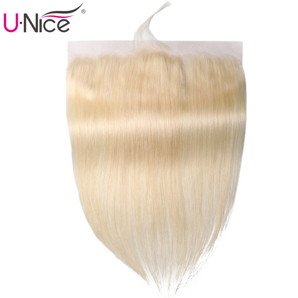 Unice Hair Lace Closure Blonde Lace-Frontal Straight 1piece -613 13--X4-Free-Part 100%Remy