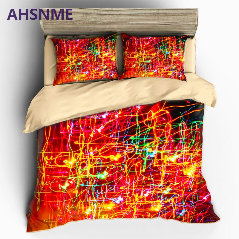 AHSNME Customizable Pattern Bedding set Color Psychedelic lighting effects in Quilt Cover High definition Print Home