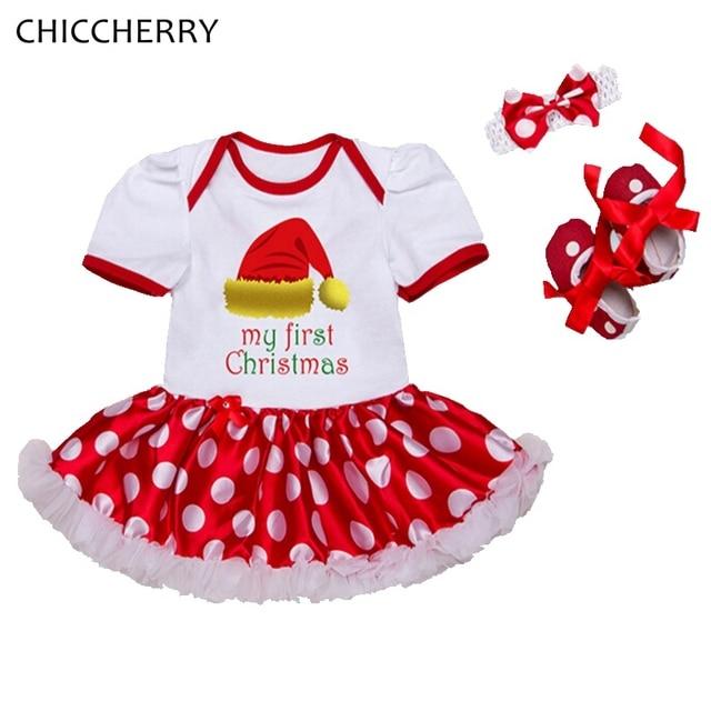 939a258d08e92 Chapeau mon premier noël Fille tenue vêtements rouge barboteuse robe  bandeau chaussures nouveau né Tutu ensembles