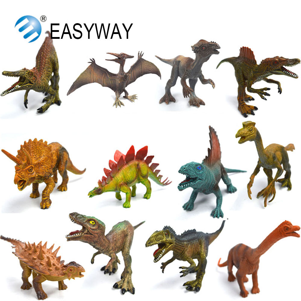 EASYWAY Real Life Dinosaur Action Figures Set Jurassic Dinosaur Plastic Animal Model Cheap Toy for Children Gift Educational DIY цена