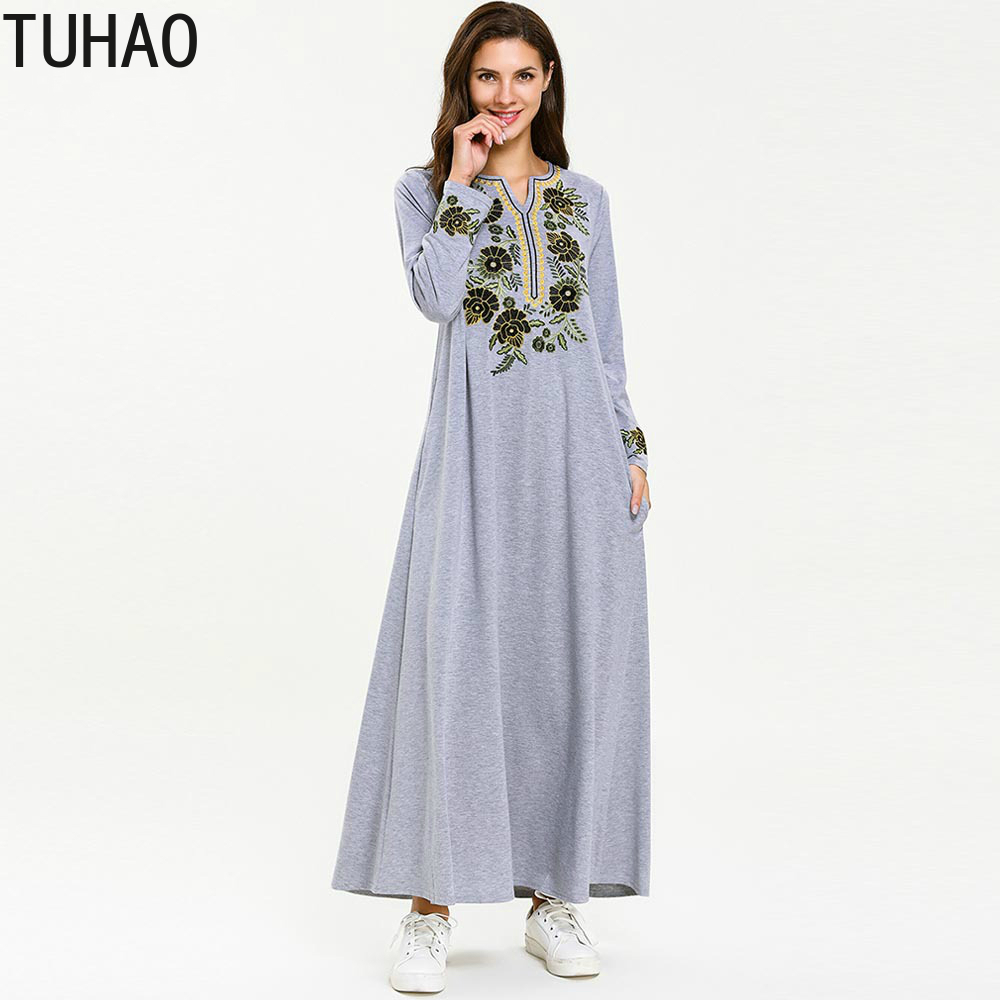 4XL Plus Size Woman Dresses Knitted Floral Embroidery ComforTble Long Sleeve Dress Elegant V neck Muslim Maxi Dress Robe T7699