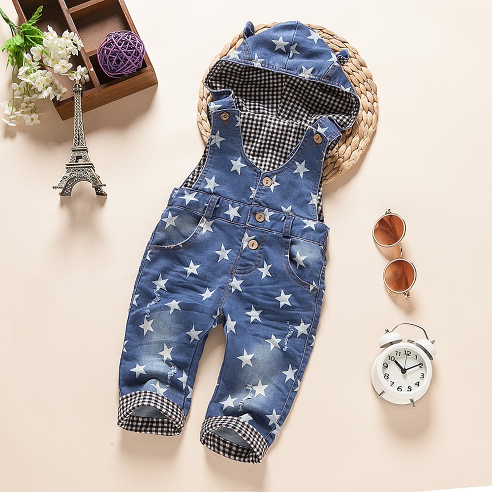 Baby Rompers Spring Boys Girls Stars Hooded Jeans Overalls Kids Denim Pants Toddler Jumpsuit Children Clothes Babe Clothing 234 spring baby boys girls clothing winter baby hooded rompers cotton padded kids warm overalls climb clothes for newborn babies