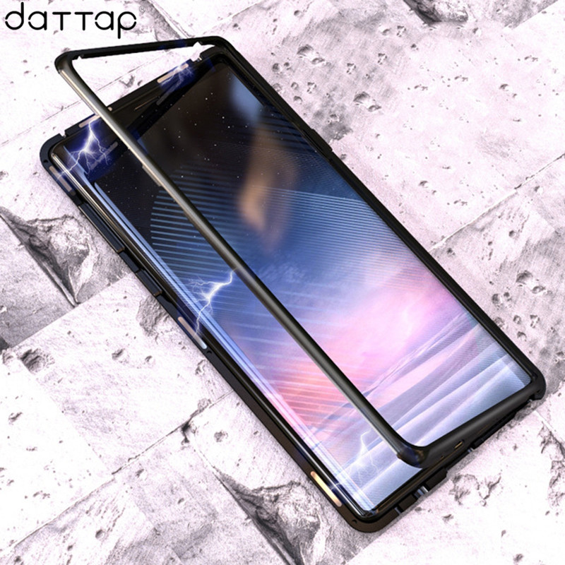 Magnetic Adsorption Flip Phone Case For Samsung Galaxy Note 9 Magnet Metal Tempered Glass Cover For Samsung Note 9 Note9 Cases
