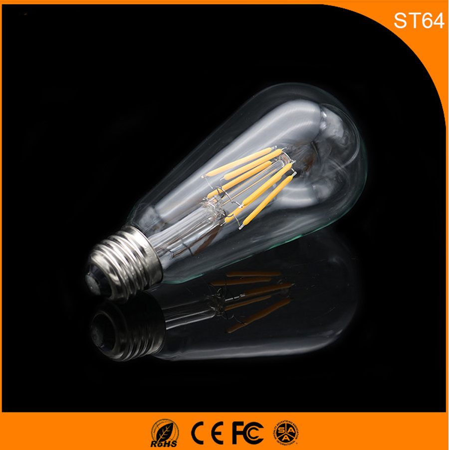 50PCS Retro Vintage Edison E27 B22 LED Bulb ,ST64 5W Led Filament Glass Light Lamp, Warm White Energy Saving Lamps Light AC220V 5pcs e27 led bulb 2w 4w 6w vintage cold white warm white edison lamp g45 led filament decorative bulb ac 220v 240v