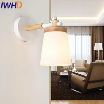 IWHD Legno Wandlamp Lampada Da Parete Moderno Semplice Lampade Da Parete A Led Moda Cuboide Soggiorno Camera Da Letto Illuminazione Scale Apparecchio