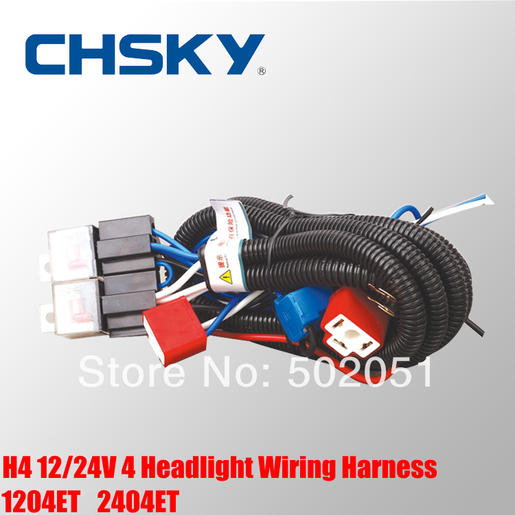 US $19 7 |CHSKY Hot sale waterproof 24V 2 lights H4 headlight wiring  harness Relay kits CH H4 2402ET-in Cables, Adapters & Sockets from  Automobiles &