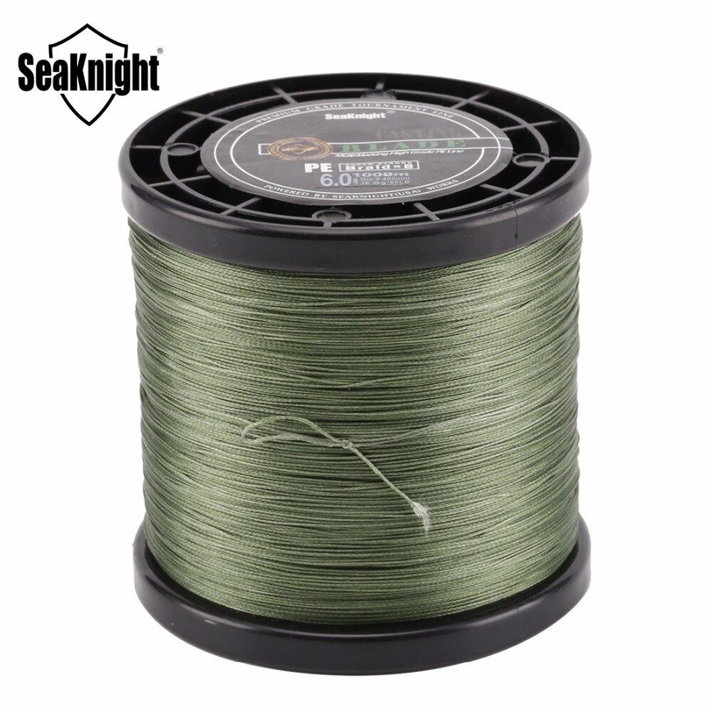 SeaKnight marque 1000 M 8 tisse des lignes de pêche tressées série de lames 8 brins vert Multifilament PE ligne 20-100LB 0.175-0.480mm