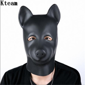 2019 Hot New Sexy Cosplay Role Play Dog Full Head Mask Soft Padded Latex Rubber Puppy Head Mask Adults Cosplay Game Face Mask