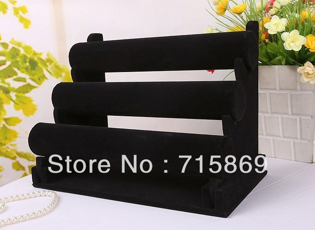 Free Shipping Black 3-Tier Velvet Watch/Bracelet Jewelry Display Cases Display Holder Stand Rack