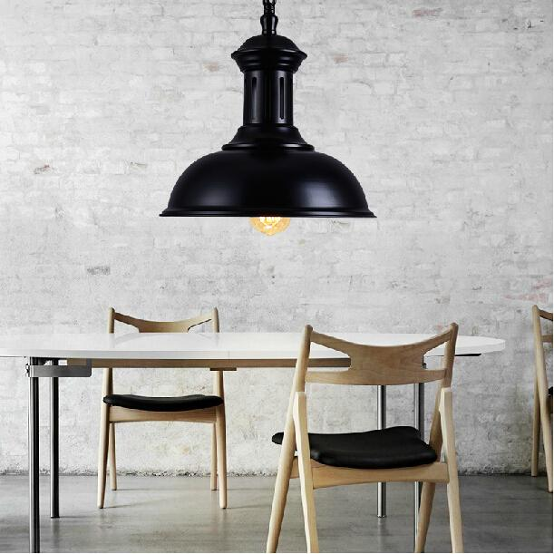 ФОТО Dia*33cm American industrial loft vintage pendant light for dining room iron black E27  home decoration lamp