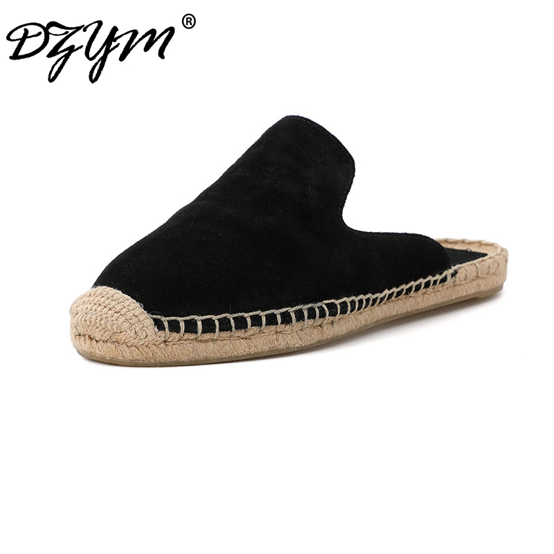 DZYM 2019 Summer Cow Suede Women Slippers Outside Hemp Flax Flat Slides Sewing Chic Fishermen Shoes