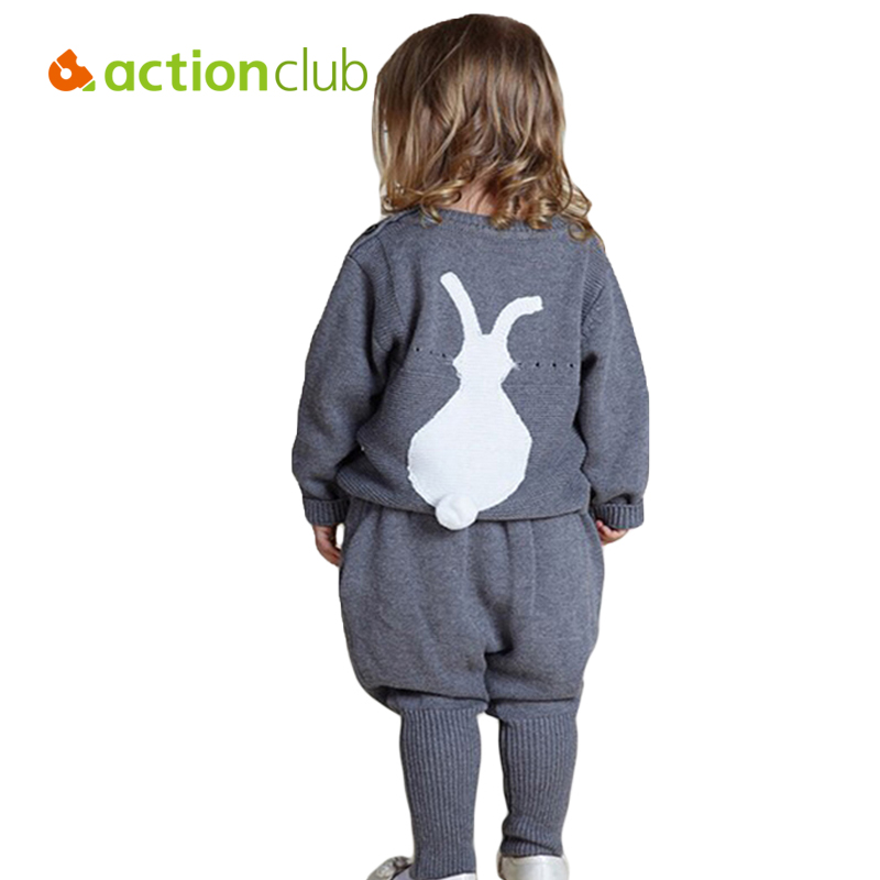 1-5Y New Kids Clothing Sets Rabbit Embroidered Girls Knitting Sweaters Boys Clothes Suit Cardigan Kids Cotton Wool Sweater+Pants комплект одежды для мальчиков kids clothes sets 2 bib 6m 5y boys clothing sets