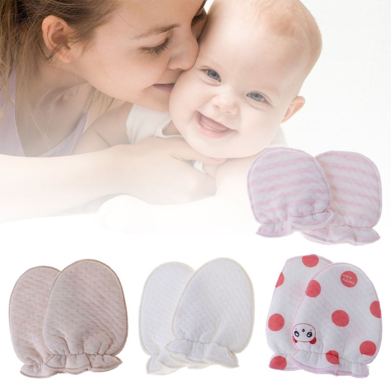 5 PAIRS COTTON MITTENS GLOVES NEW BORN BABY  0-6 Month  Babies Anti Scratch