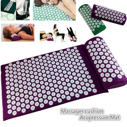 Massage cushion Acupressure Mat Relieve Stress Pain Acupuncture Spike Yoga Mat with Pillow Drop shipping 50 pcs lot 36 14 10cm relieve stress pain acupuncture spike yoga pillow without sponge acupressure massage pillowcase