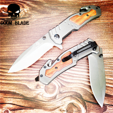 205mm 5CR15MOV Blade Quick Open Knives Folding Blade Knife Wood Handle Camping Knife Outdoor Stainless Steel Knives цены